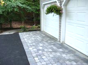 Residential driveway with brickwork